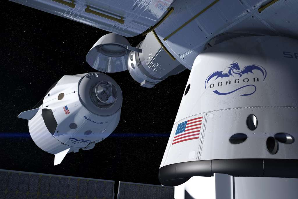 La capsule Crew Dragon de Space X devrait décoller mi-2020 avec des astronautes à son bord. © Nasa