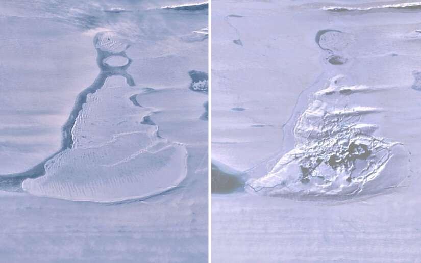 Sur ces images satellites, vers le haut, à gauche, le lac recouvert de glace et à droite, la doline créée par l'hydrofracturation de la plateforme. © Warner et al., Geophysical Research Letters