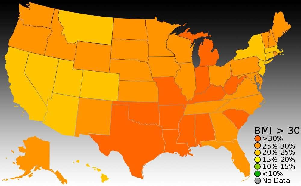 L'indice de masse corporelle par État en 2011. © Falcorian, Wikipedia, CC by-sa 3.0