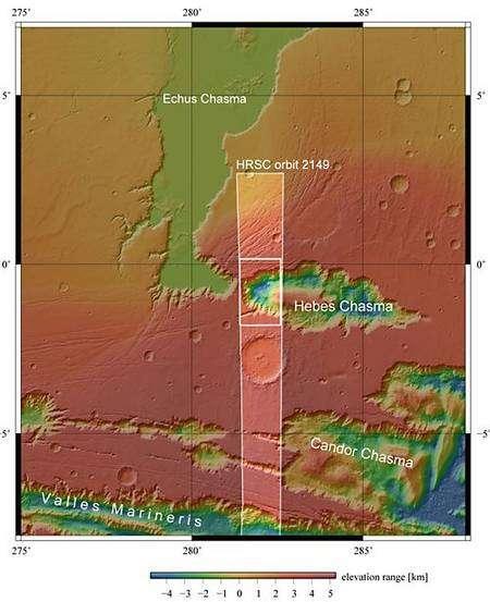 La HRSC a scruté la zone, fournissant de nouveaux indices apportant de nouveaux détails à son histoire. Cette image a été obtenue le 16 septembre 2005 avec une résolution au sol d'approximativement 15 mètres par pixel. Crédits : FU Berlin/MOLA