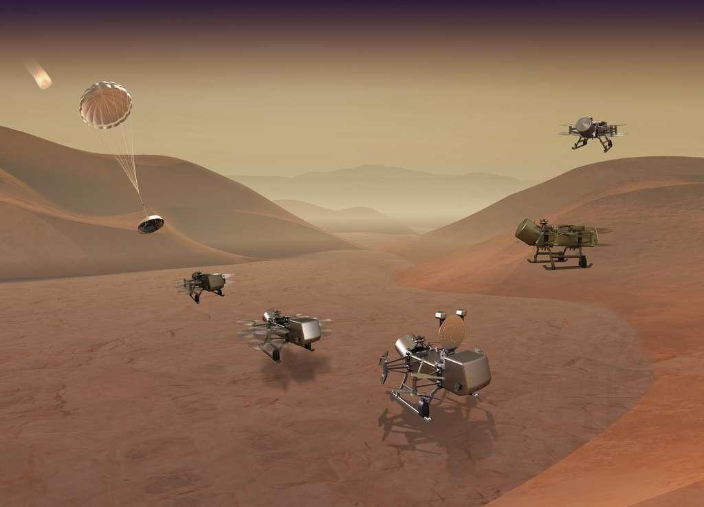 Vue d'artiste du drone Dragonfly. Les véhicules aériens d'exploration robotique ont la cote auprès de la Nasa. Après Ingenuity sur Mars, un drone pourrait voler dans le ciel de Titan. À suivre... © Johns Hopkins (APL)
