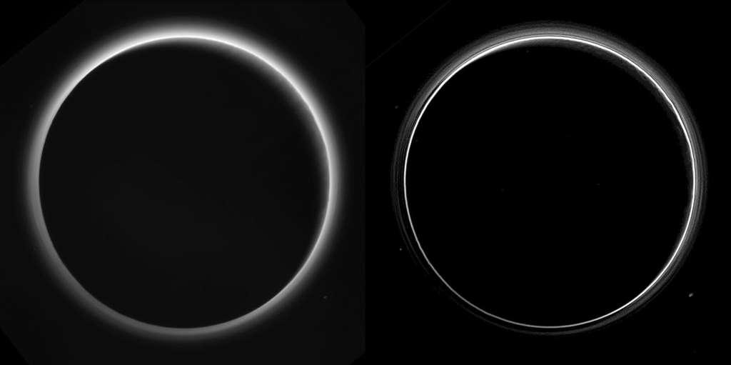 Deux vues différentes de l'atmosphère de Pluton, photographiées en contre-jour, à environ 770.000 km de sa surface, 16 heures après le survol de la planète naine. L'image de droite montre une multitude de couches de brumes qui n'avaient pas été observées auparavant. Moins retravaillée, l'image de gauche laisse entrevoir des reliefs sur le limbe de Pluton éclairés par le crépuscule. © Nasa, JHUAPL, SwRI