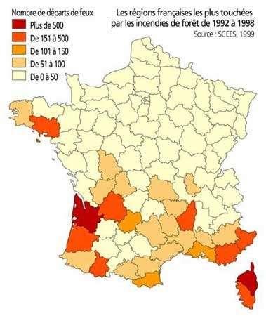 Carte des régions françaises les plus touchées par les incendies de forêt de 1992 à 1998.