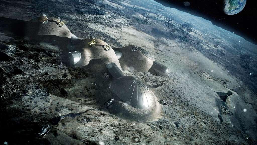 Dans le futur, l'Homme pourrait s'implanter durablement sur le sol lunaire mais aussi s'installer en orbite lunaire. L'ESA se place sur cette double stratégie. © ESA, Foster Partners