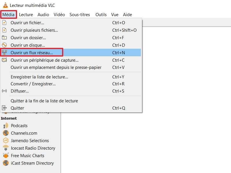 Sélectionnez « Ouvrir le flux réseau », soit en passant par le menu, soit en vous servant du raccourci « ctrl + N ». © VideoLAN