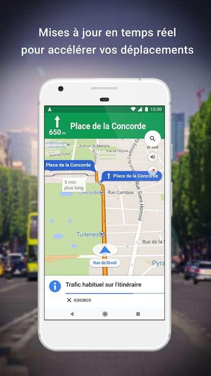 Google Maps indique les portions de route embouteillées en orange ou en rouge. © Google