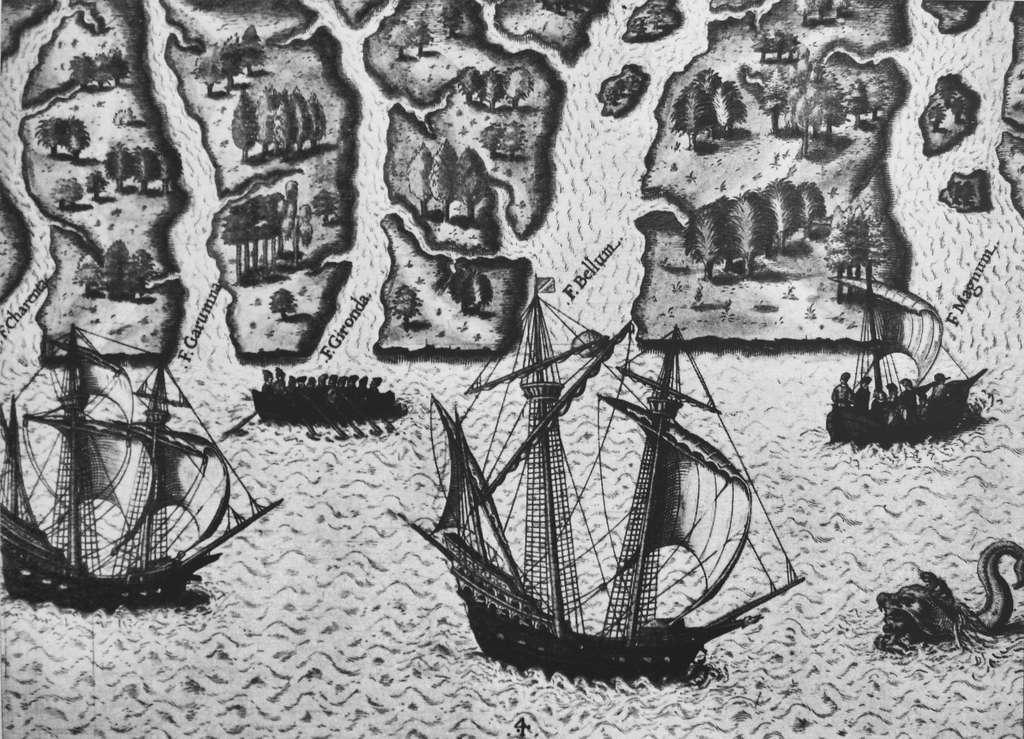 Exploration de la Floride par Ribaut et Laudonnière, 1564. Tableau de Le Moyne de Morgues. © Wikimedia Commons, domaine public