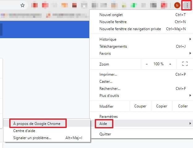 Cherchez « À propos de Google Chrome » dans le menu. © Google Inc.