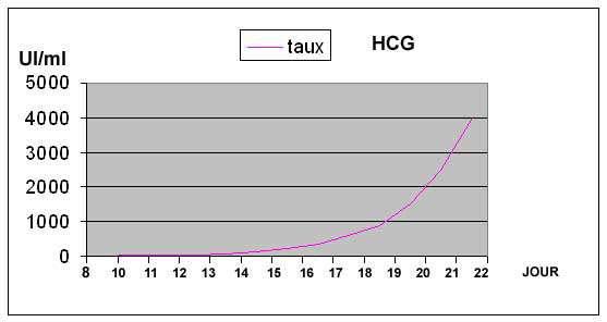 Graphique présentant l'importance du taux de bêta-hCG en fonction de l'avancement de la grossesse. © 123-bebe, DR
