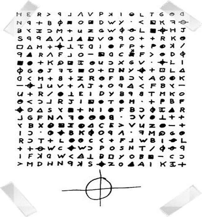 Z340 : le second cryptogramme du zodiaque avec son logo en signature. © Zodiac killer, wikimedia commons, DP
