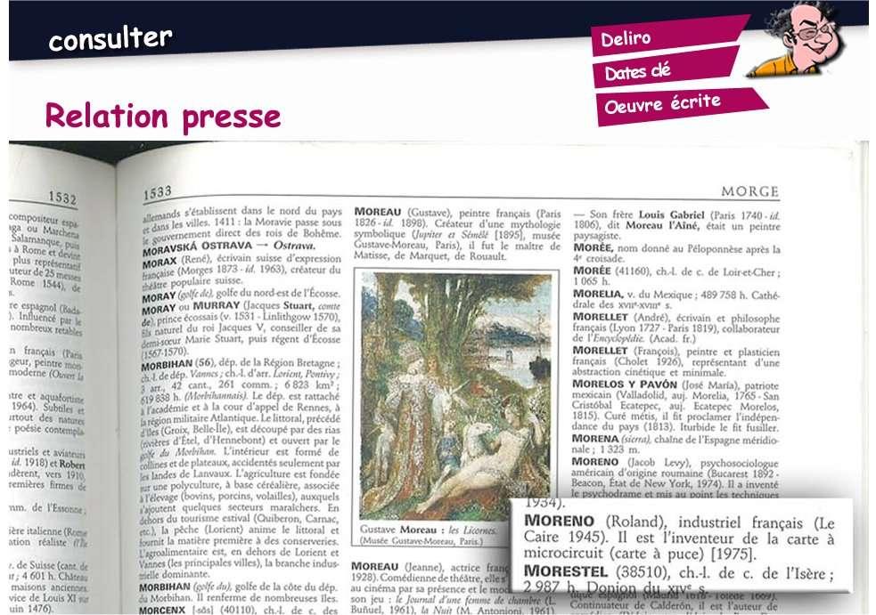 Sur le site de Roland Moreno, un extrait du dictionnaire Larousse des noms propres. Il manque la date du décès de l'inventeur de la carte à puce : 29 avril 2012. © RolandMoreno.com