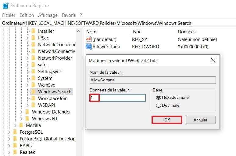 Changez les données de la valeur de 0 à 1. © Microsoft