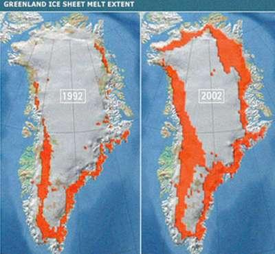 Figure 7 : Diminution de l'extension de la calotte groenlandaise entre 1992 et 2002.