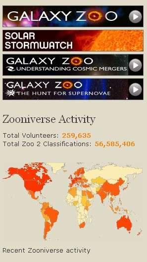 La plate-forme astronomique Zooniverse propose aux internautes du monde entier de collaborer à différents projets. Crédit Zooniverse