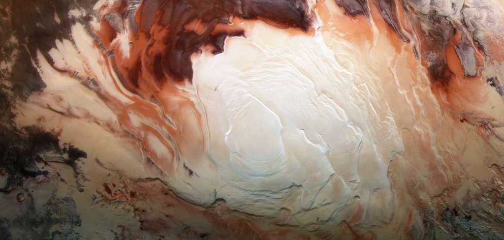 La calotte polaire sud de Mars imagée par la sonde européenne Mars Express, le 17 décembre 2012. © ESA, DLR, FU Berlin, Bill Dunford