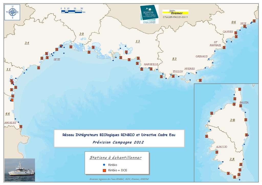 Positions relatives de toutes les stations d'échantillonnages qui devraient être déposées à partir du navire L'Europe lors de la campagne DCE 3, entre le 28 mars et le 20 avril 2012. © Ifremer/AERMC