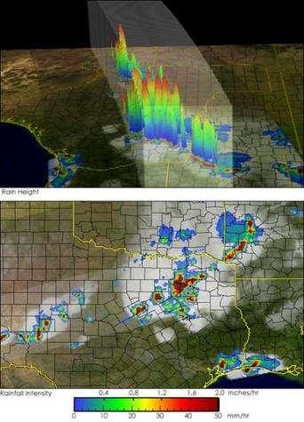 Ces images, issues de données du satellite TRMM, montrent des orages au-dessus du Texas, le 30 avril 2004. Sur l'image supérieure apparaissent des gouttes de pluie ou des particules de glace s'élevant, portées par de forts courants ascendants, au coeur des orages. Le bleu, le vert et le rouge correspondent respectivement à de basses, moyennes et hautes altitudes. (Crédits : NASA/GSFC)