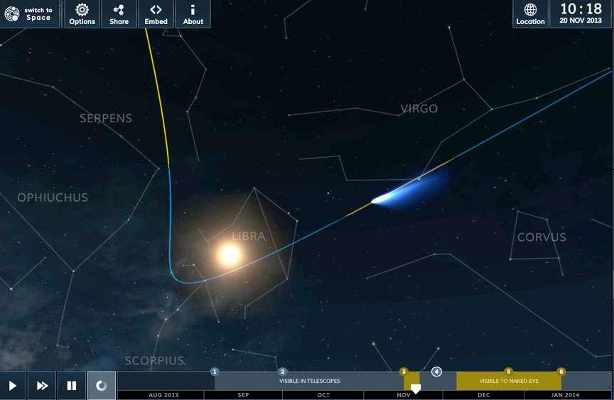 Suivez la position de la comète Ison en temps réel et pour les prochains jours sur cette simulation proposée par le site SolarSystemScope. © SolarSystemScope