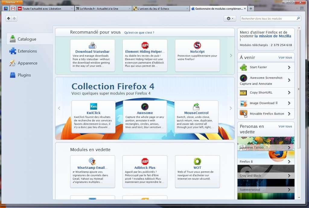 L'interface du gestionnaire de modules complémentaires a été entièrement revue. Désormais plus claire, elle propose différentes rubriques selon leurs types : Catalogue, Extensions, Apparence ou Plugins. © Mozilla