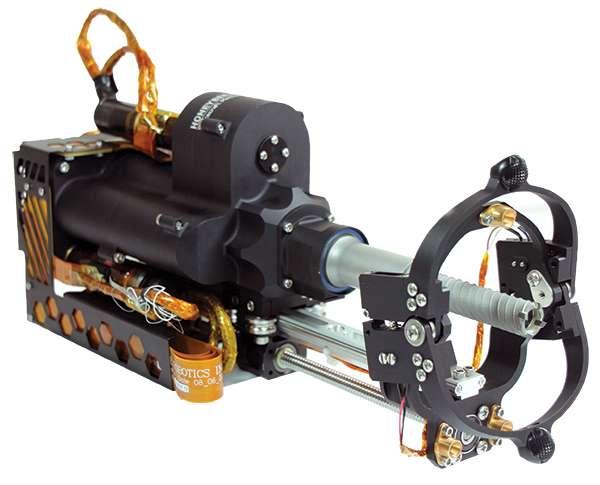 Ici, le carottier à percussion rotatif conçu pour collecter des échantillons sur le sol de Mars. Il est désormais à disposition des géologues sur Terre. © Honeybee Robotics