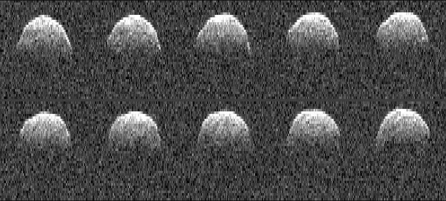 Série d'images radar de l'astéroïde 1999 RQ36 obtenues par l'antenne du Goldstone Solar System Radar en Californie le 23 septembre 1999. © Nasa/JPL-Caltech