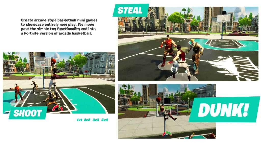 Un aperçu du mini-jeu de basket dans Fortnite. © Epic Games