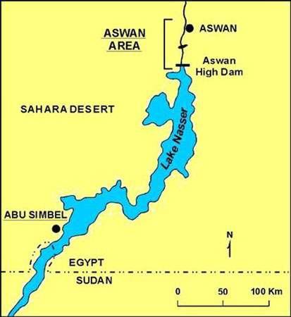 Carte du lac Nasser. © DR