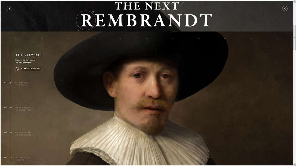Ce tableau de Rembrandt n'a jamais été peint par l'artiste mais par un programme d'intelligence artificielle à partir de vrais tableaux. © Projet Next Rembrandt