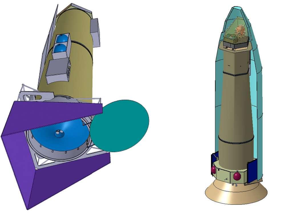Études conceptuelles du télescope Athena, de Thales Alenia Space (gauche) et d'Airbus Espace (à droite), qui ne préfigurent en rien le satellite qui sera construit. L'instrument devra être réalisé dans la décennie à venir et sera le meilleur du genre pour observer dans le domaine des rayons X. © Athena Science team