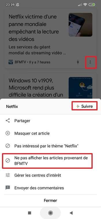 Bloquez les articles venant de sources ou portant sur des sujets que vous n'appréciez pas. © Google Inc.
