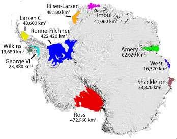 Les plateformes glaciaires flottantes de l'Antarctique sont représentées en différentes couleurs : les deux plus grandes sont Ross et Filchner-Ronne. Dans toutes ces zones, la couverture de glace qui provient des glaciers fond par le dessous. © Scambos et al., 2007, National Snow and Ice Data Center