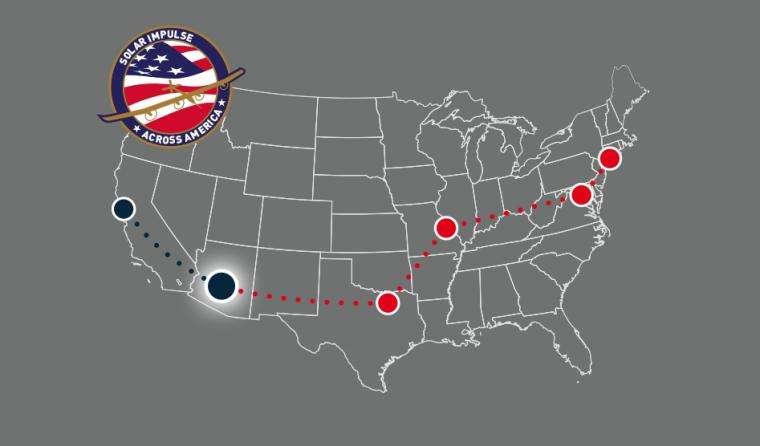 Itinéraire prévu pour la traversée des États-Unis par l'avion solaire Solar Impulse. La première étape (en bleu et auréolée de blanc) a été réalisée entre le 3 et le 4 mai 2013. © Solar Impulse