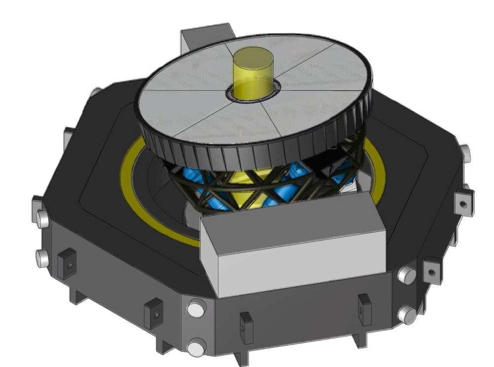 Le M4 est un miroir en vitrocéramique constitué de six pétales minces. Son épaisseur, très faible (quelques millimètres), doit être uniforme sur l'ensemble de la surface, avec une grande précision. En tout, l'instrument comportera cinq miroirs, dont l'un, de 2,5 m, sera adaptatif, capable de corriger en temps réel les turbulences atmosphériques. © ESO