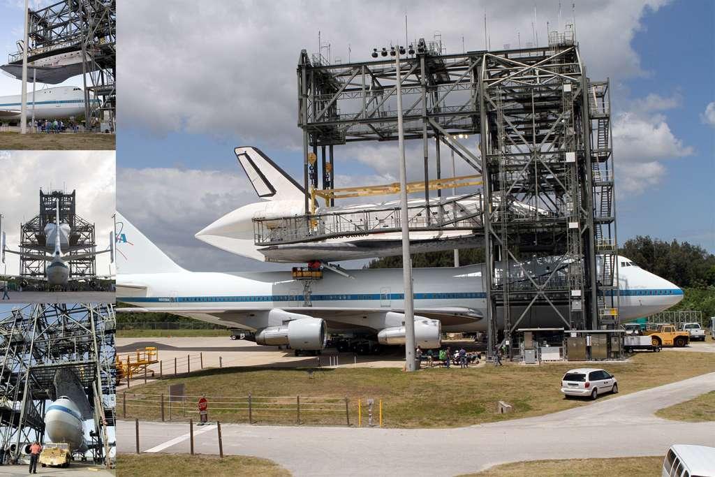Installation de Discovery sur le dos du Boeing SCA, un Boeing 747 aménagé par la Nasa pour le transport de ses navettes. © Nasa/Kim Shiflett