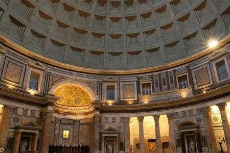 Cliquer pour agrandir. Le dôme du Panthéon est fabriqué en béton hydraulique. Crédit : rome-roma.net