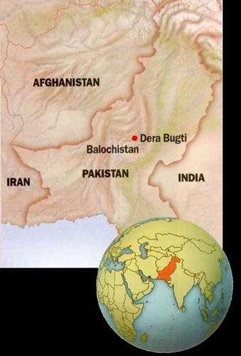 Localisation du Pays Bugti au Balouchistan, Pakistan. © 2002 MPFB