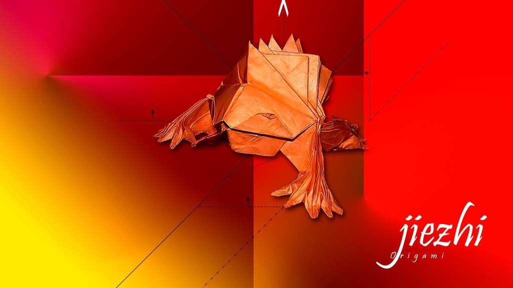 Une grenouille en papier