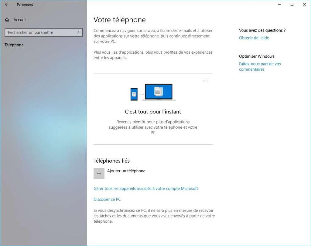Ajoutez votre smartphone via les paramètres. © Windows
