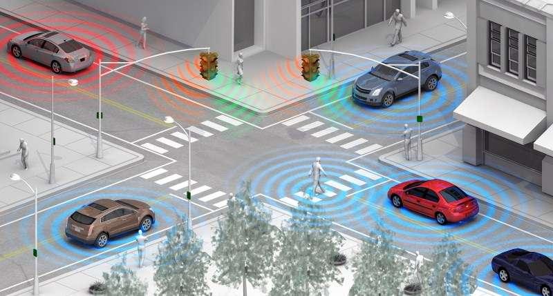 Le système de détection des piétons mis au point par General Motors utilise le Wi-Fi Direct, ce qui permet une connexion automatique entre le véhicule et le smartphone des passants ou des cyclistes, afin qu'ils soient signalés au conducteur. © General Motors