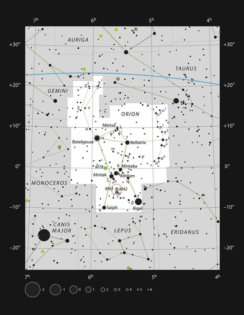 La constellation d'Orion est célèbre à cause de la nébuleuse qu'elle contient. Il s'agit de Messier 42. © ESO