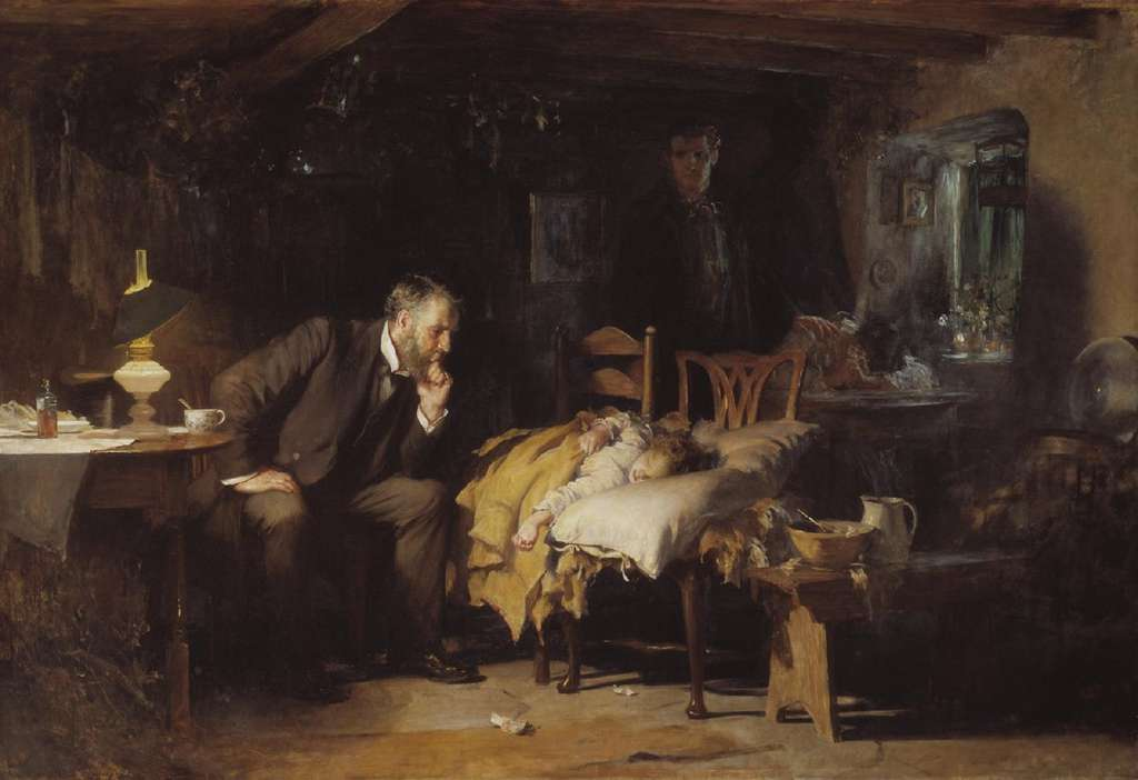 """The doctor"" par Luke Fildes en 1891. Tate Gallery, Londres. © Wikimedia Commons, domaine public."