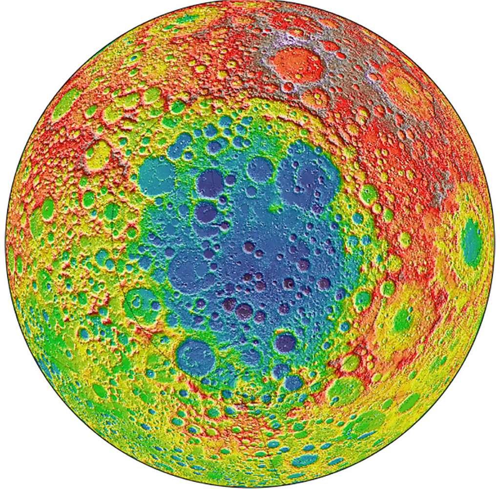 Cette image antiémétique est centrée sur le bassin Aitken, au pôle sud à l'intérieur duquel doit alunir le rover de la mission chinoise Chang'e 4. Les zones en bleues sont les régions les plus profondes. Quinze kilomètres séparent le point le plus bas du plus haut. © Nasa, Centre spatial Goddard