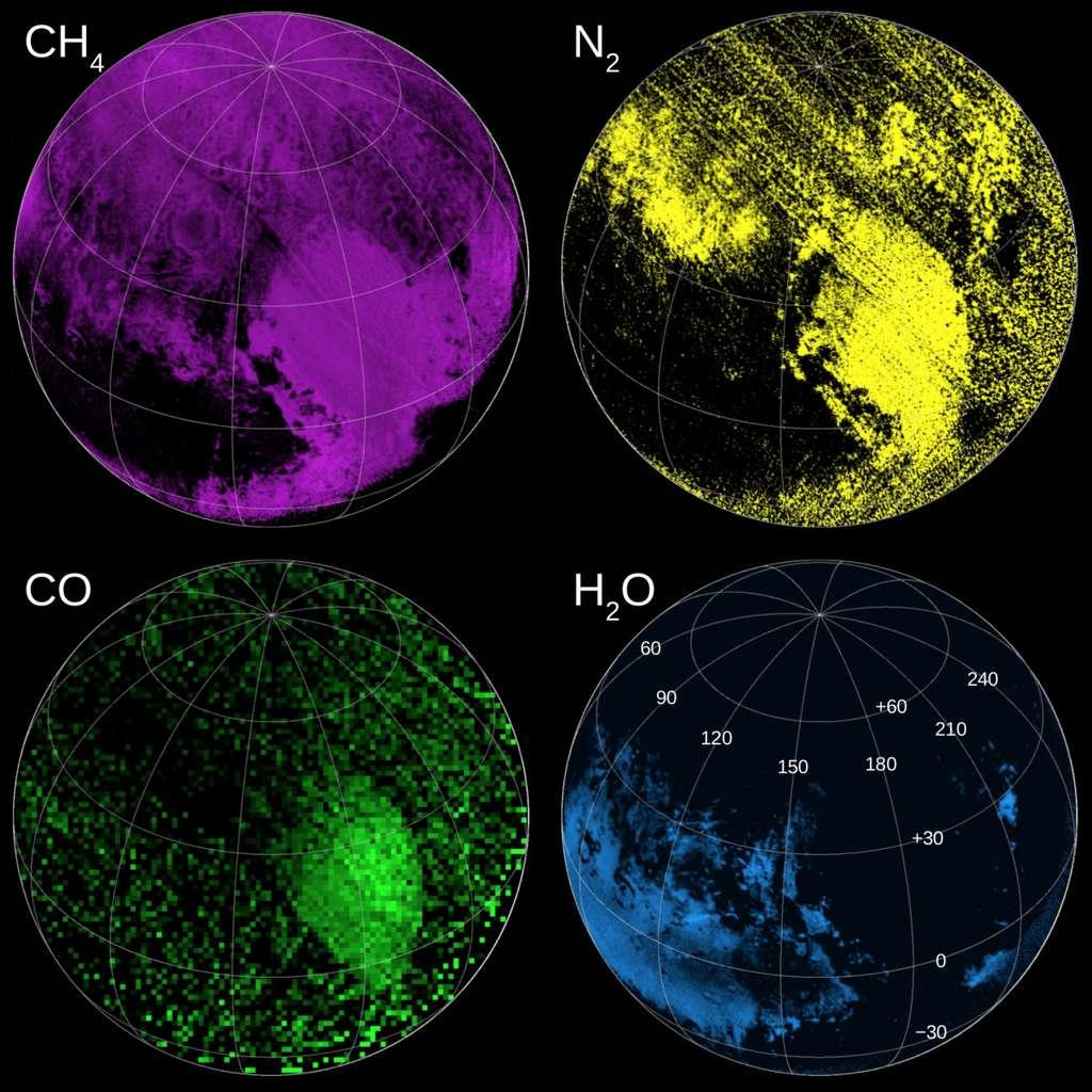 L'instrument Ralph/Leisa (Linear Etalon Imaging Spectral Array) a permis de dresser des cartes de la composition de la surface de Pluton : méthane (CH4), azote (N2), monoxyde de carbone (CO) et eau (H2O). © Nasa, SwRI, JHUAPL
