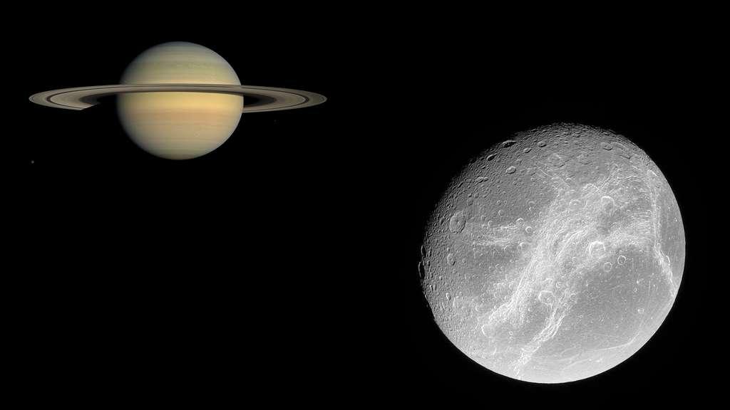 Saturne et sa lune Dioné