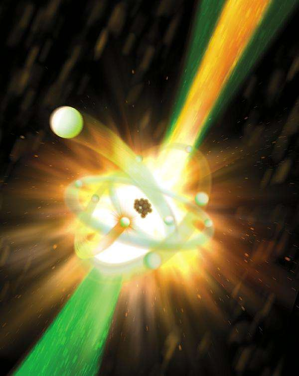 Une vue d'artiste d'un atome de néon bombardé par une impulsion laser dans le domaine des rayons X, perdant ensuite un électron et se désexcitant en émettant du rayonnement X secondaire. © Greg Stewart/Slac