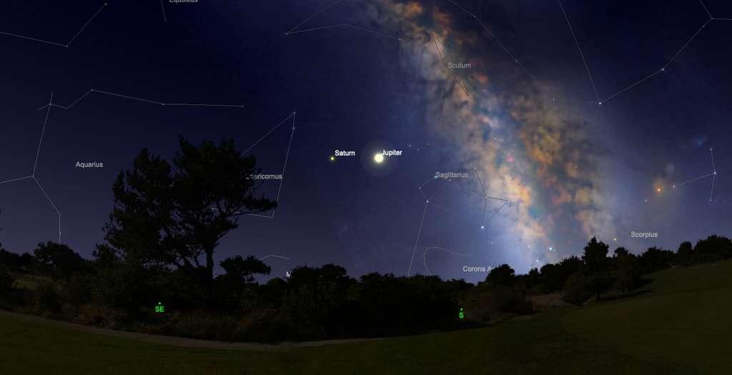 Position de Jupiter et Saturne cet été, en début de soirée. © SkySafari