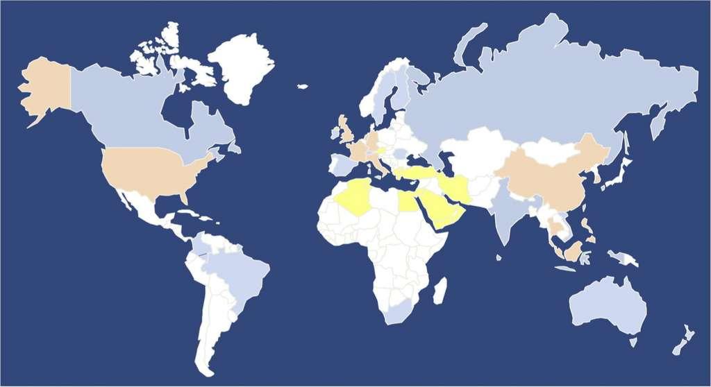 Pays touchés par le SRAS (en bleu), par le MERS (en jaune) ou par les deux épidémies (en orange). © Leslie A.Reperant, Vaccine, 2017
