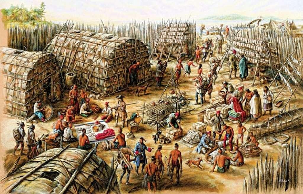"""Village huron traditionnel, par Francis Back. Exposition """"Dessiner l'Amérique française"""", musée Marguerite Bourgeoys, Montréal. © Francis Back."""