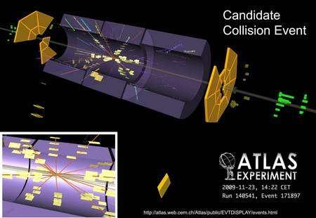 Cliquer pour agrandir. Les premières collisions de faisceaux dans Atlas. Crédit : Cern