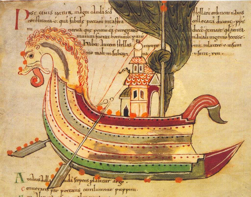 Vaisseau viking dessiné en Northumbrie. © British Library